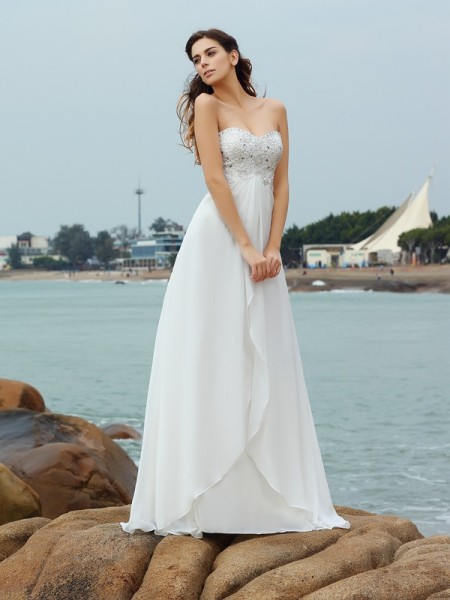 A-Line/Princess Ivory Chiffon Floor-Length Wedding Dresses with Beading