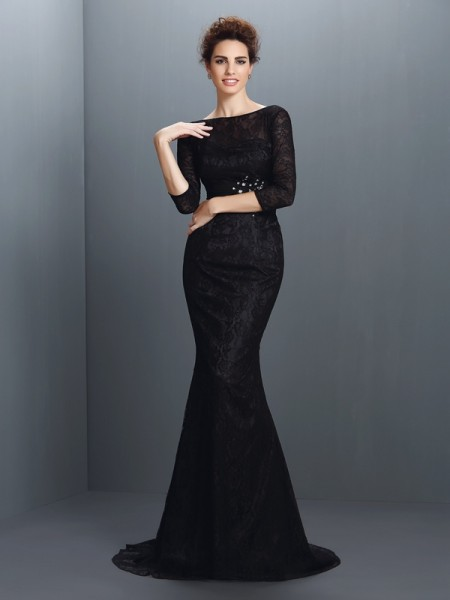 Trumpet/Mermaid Black Elastic Woven Satin Sweep/Brush Train Mother Of The Bride Dresses with Lace