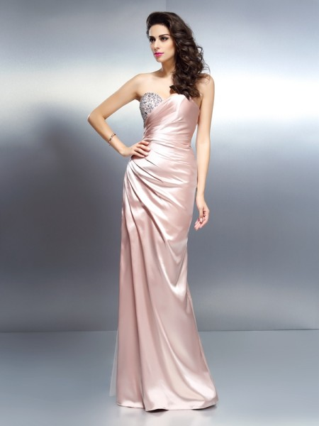 Trumpet/Mermaid Champagne Elastic Woven Satin Floor-Length Dresses with Beading