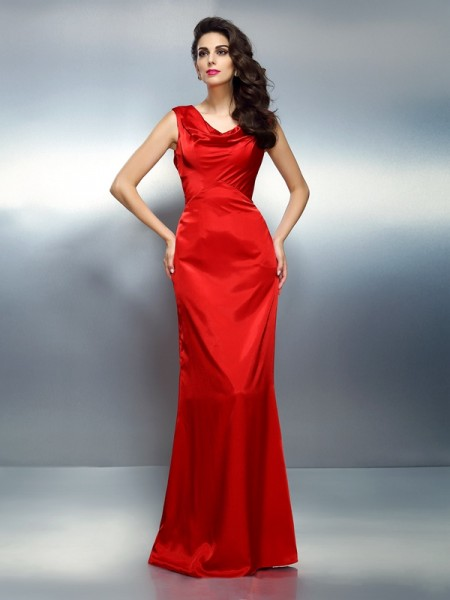 Trumpet/Mermaid Red Silk like Satin Floor-Length Evening Dresses with Other
