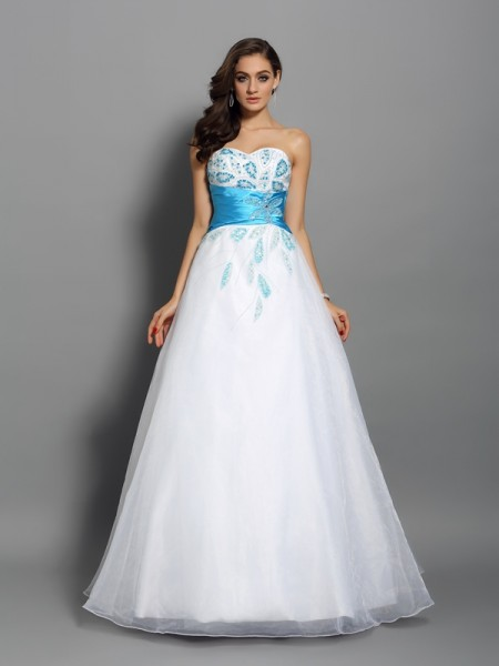 Ball Gown White Satin Floor-Length Dresses with Beading