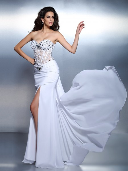 Trumpet/Mermaid White Chiffon Floor-Length Dresses with Pleats