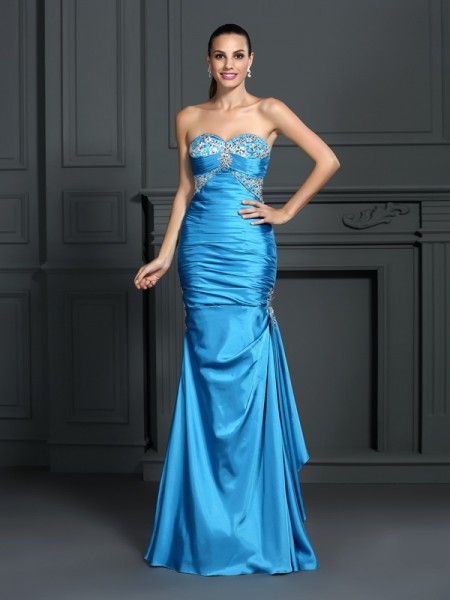 Trumpet/Mermaid Blue Elastic Woven Satin Floor-Length Dresses with Beading