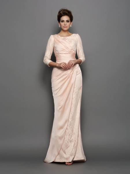 Trumpet/Mermaid Pink Chiffon Sweep/Brush Train Mother Of The Bride Dresses with Lace