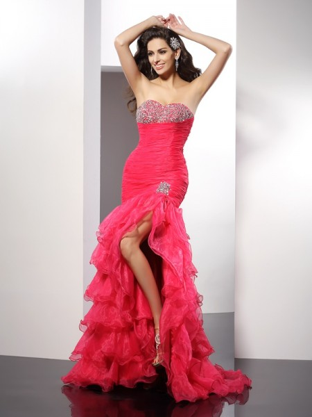 Sheath/Column Watermelon Organza Floor-Length Evening Dresses with Beading
