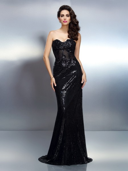 Trumpet/Mermaid Black Lace Sweep/Brush Train Evening Dresses with Applique