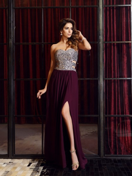 A-Line/Princess Grape Chiffon Sweep/Brush Train Dresses with Beading