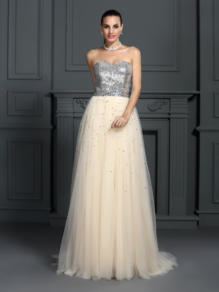 A-Line/Princess Champagne Lace Floor-Length Dresses with Beading