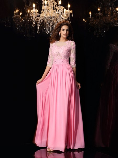 A-Line/Princess Pink Silk like Satin Floor-Length Dresses with Applique