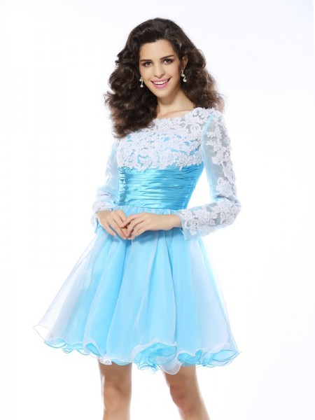 A-Line/Princess Blue Elastic Woven Satin Short/Mini Homecoming Dresses with Applique