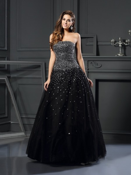 Ball Gown Black Satin Floor-Length Dresses with Beading