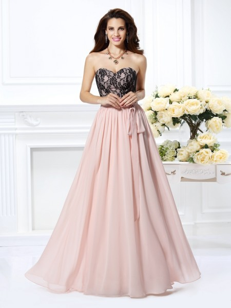 A-Line/Princess Pearl Pink Chiffon Floor-Length Dresses with Lace
