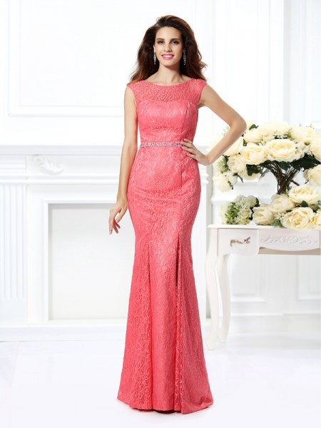 Trumpet/Mermaid Watermelon Lace Floor-Length Evening Dresses with Beading