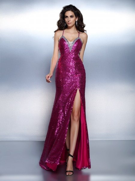 Trumpet/Mermaid Fuchsia Chiffon Floor-Length Evening Dresses with Beading