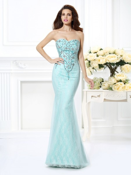 Trumpet/Mermaid Light Sky Blue Net Floor-Length Dresses with Beading