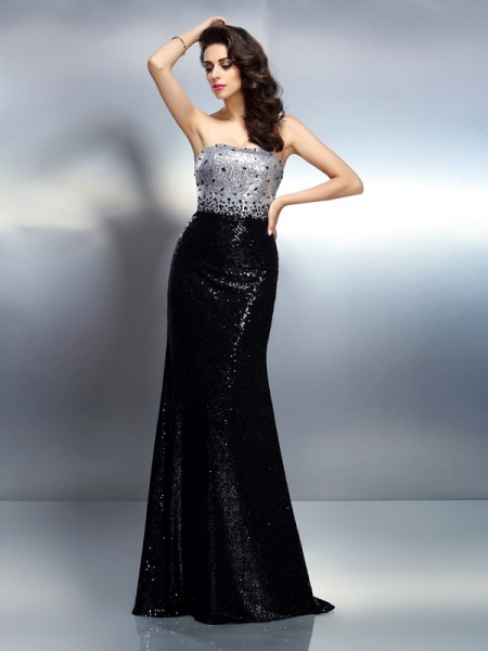 Trumpet/Mermaid Black Sequins Sweep/Brush Train Evening Dresses with Sequin