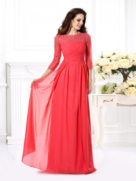 A-Line/Princess Watermelon Chiffon Floor-Length Evening Dresses with Beading
