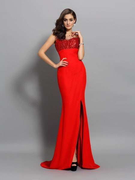 Trumpet/Mermaid Red Chiffon Sweep/Brush Train Dresses with Beading