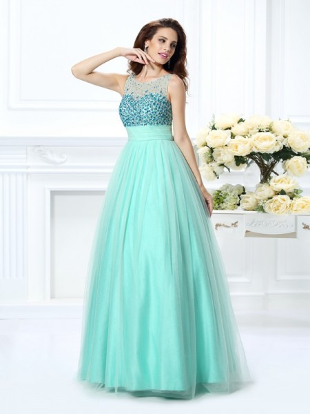 Ball Gown Sage Chiffon Floor-Length Dresses with Beading
