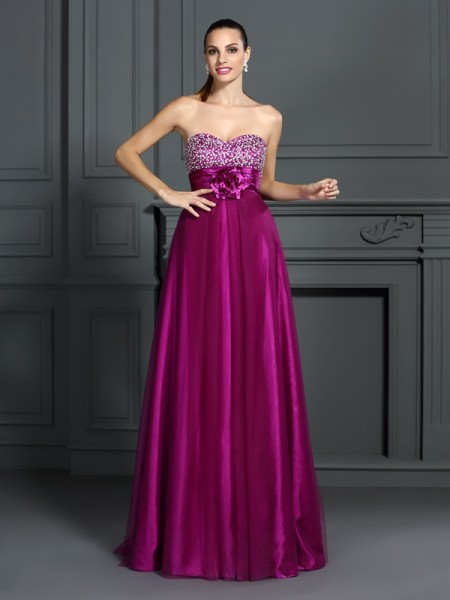 A-Line/Princess Fuchsia Elastic Woven Satin Floor-Length Dresses with Hand-Made Flower