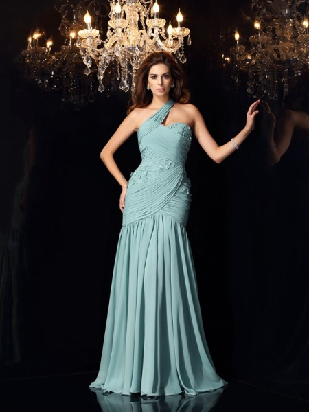 Trumpet/Mermaid Green Chiffon Sweep/Brush Train Dresses with Other