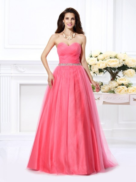 Ball Gown Watermelon Satin Floor-Length Dresses with Beading
