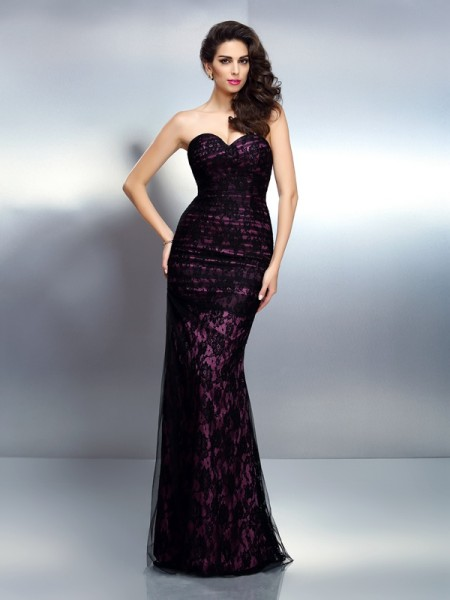 Trumpet/Mermaid Black Elastic Woven Satin Floor-Length Evening Dresses with Lace