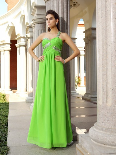 Sheath/Column Green Chiffon Floor-Length Dresses with Beading