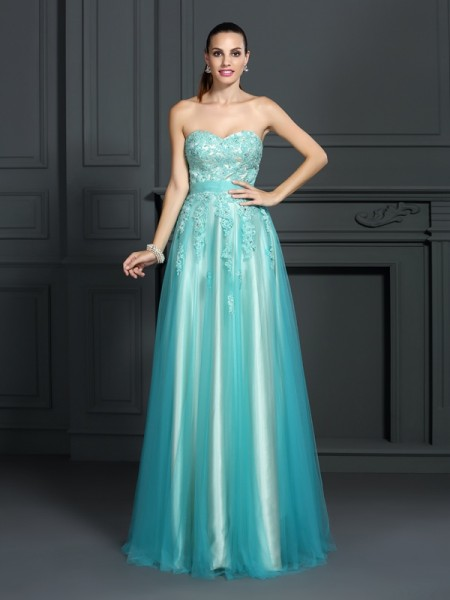 A-Line/Princess Sage Elastic Woven Satin Floor-Length Dresses with Applique