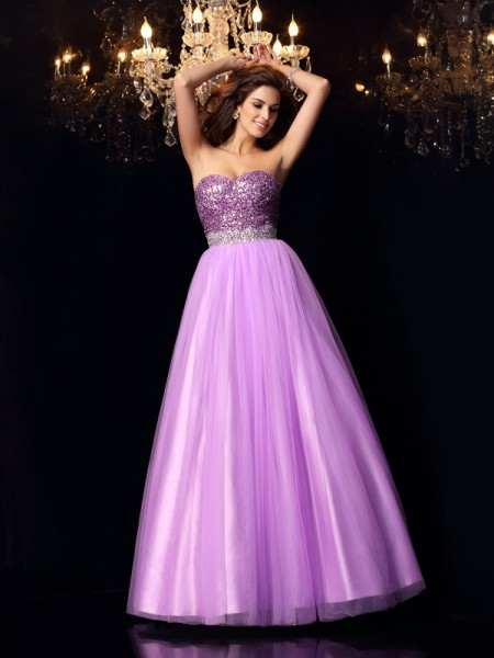 Ball Gown Lilac Elastic Woven Satin Floor-Length Dresses with Sequin
