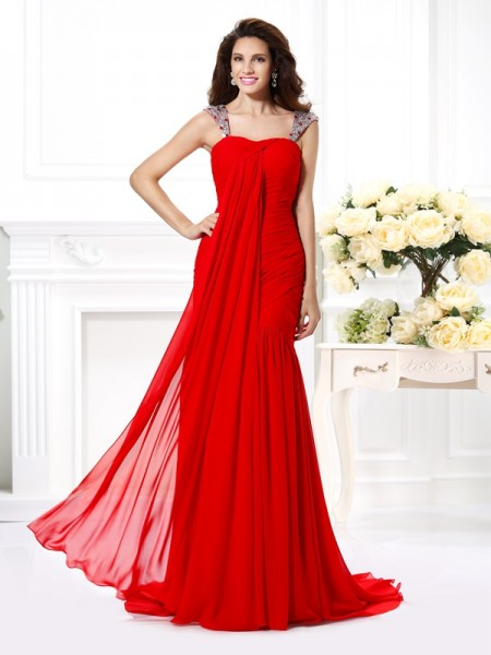 Trumpet/Mermaid Red Chiffon Sweep/Brush Train Evening Dresses with Beading