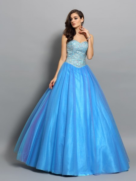 Ball Gown Blue Elastic Woven Satin Floor-Length Dresses with Beading