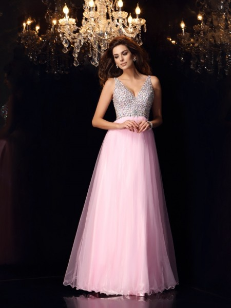 A-Line/Princess Pink Elastic Woven Satin Floor-Length Dresses with Ruffles
