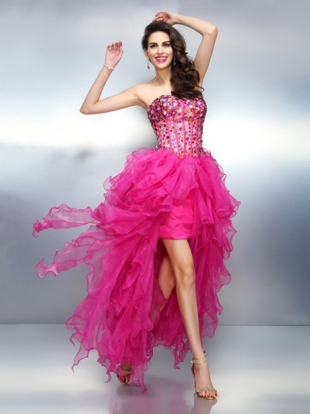 A-Line/Princess Pink Organza Asymmetrical Homecoming Dresses with Rhinestone