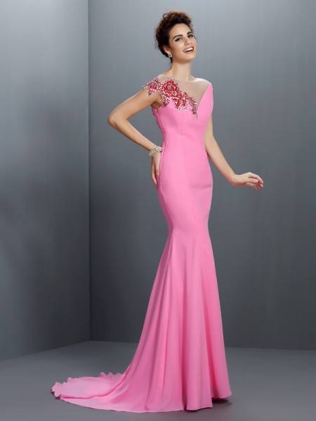 Trumpet/Mermaid Pink Chiffon Sweep/Brush Train Evening Dresses with Beading