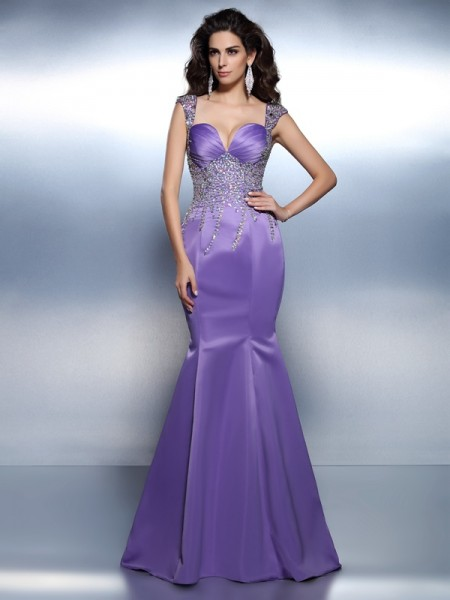 Trumpet/Mermaid Lavender Satin Sweep/Brush Train Dresses with Beading