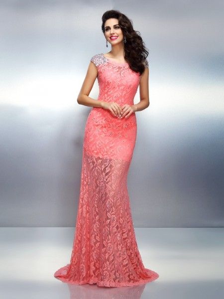 Trumpet/Mermaid Pink Satin Sweep/Brush Train Dresses with Beading