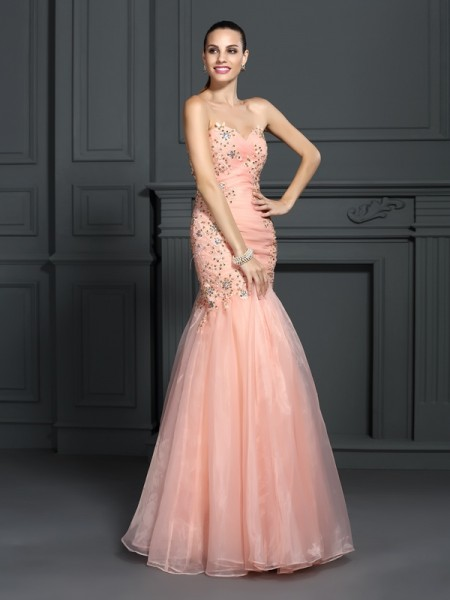 Trumpet/Mermaid Orange Organza Floor-Length Dresses with Applique