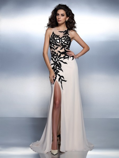 A-Line/Princess Champagne Chiffon Floor-Length Dresses with Applique