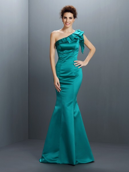 Trumpet/Mermaid Hunter Green Satin Floor-Length Evening Dresses with Other