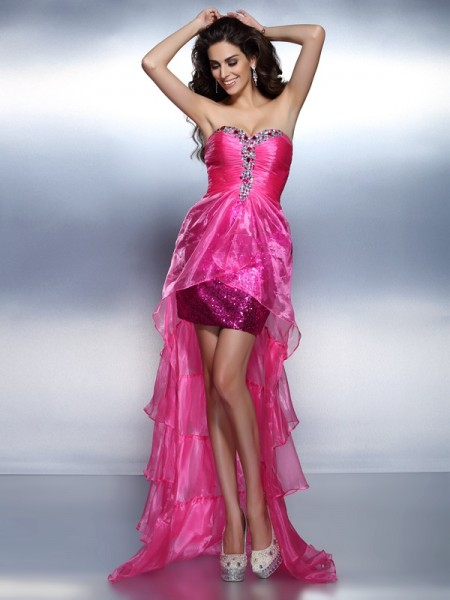 Sheath/Column Fuchsia Organza Asymmetrical Homecoming Dresses with Beading