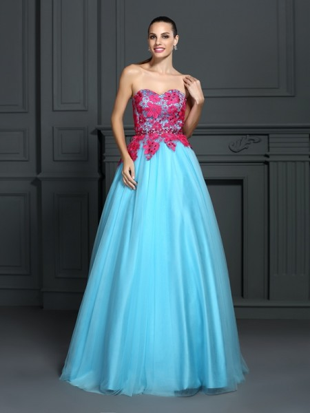 Ball Gown Blue Satin Floor-Length Dresses with Lace
