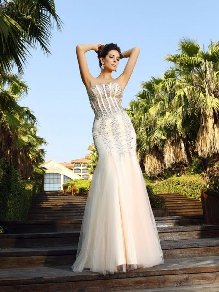 Trumpet/Mermaid Champagne Satin Floor-Length Dresses with Beading