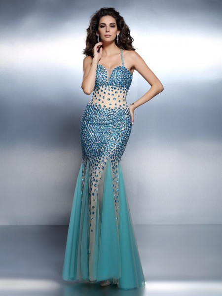 Trumpet/Mermaid Blue Satin Floor-Length Dresses with Rhinestone