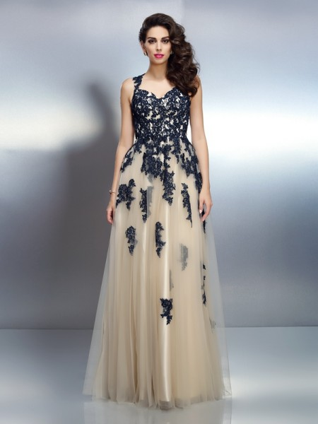 A-Line/Princess Champagne Elastic Woven Satin Floor-Length Dresses with Applique