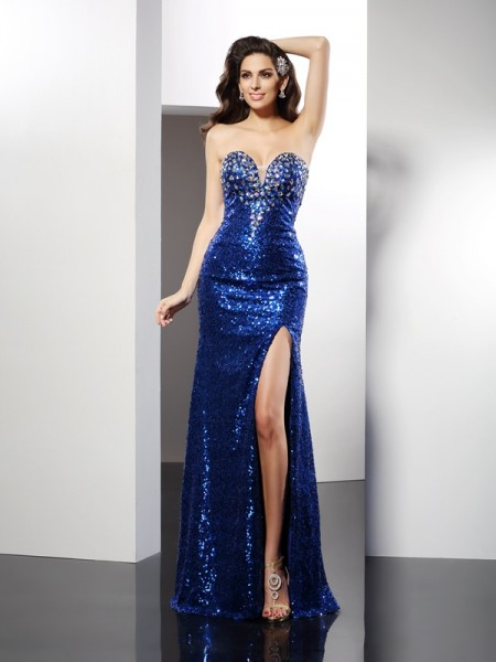 Sheath/Column Royal Blue Sequins Floor-Length Dresses with Sequin