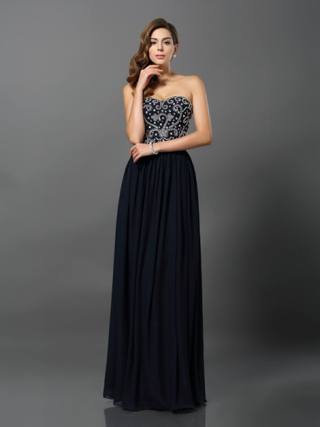 A-Line/Princess Dark Navy Chiffon Floor-Length Dresses with Beading