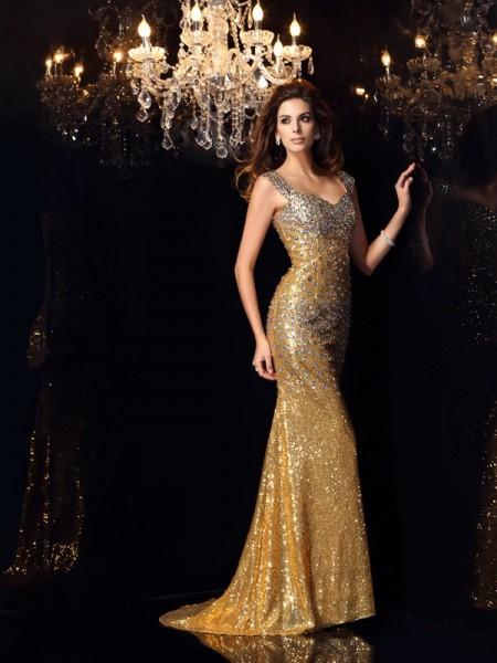 Trumpet/Mermaid Gold Sequins Floor-Length Dresses with Rhinestone