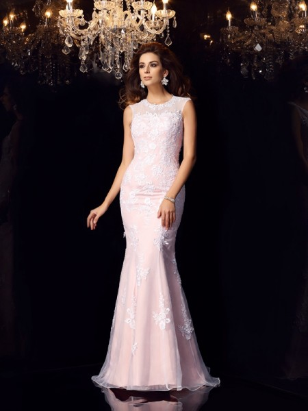 Trumpet/Mermaid Pink Satin Floor-Length Dresses with Lace