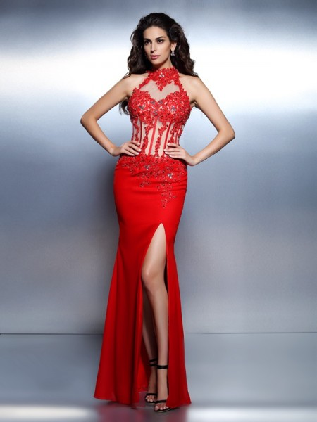 Trumpet/Mermaid Red Satin Floor-Length Dresses with Beading